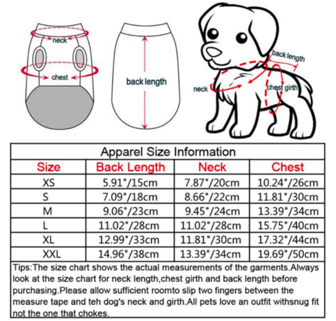 christmas dog sweater size table