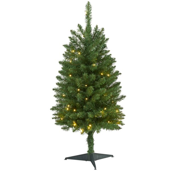 3' Slim Green Mountain Artificial Christmas Tree With 50 Clear LED Lights
