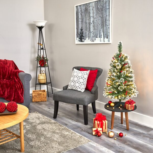 3' Frosted Swiss Pine Artificial Christmas Tree With 50 LEDs And Red Berries
