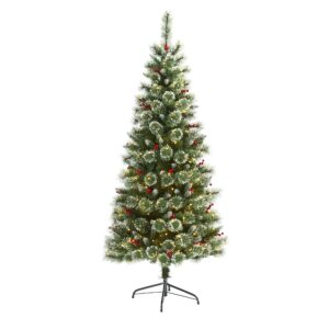 6' Frosted Swiss Pine Artificial Christmas Tree With 300 LEDs & Berries