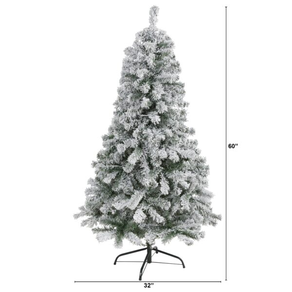 5' Flocked Rock Springs Spruce Artificial Christmas Tree With 350 Bendable Branches