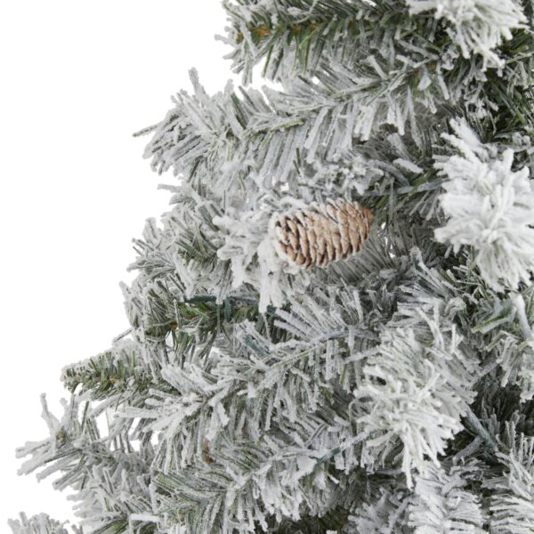4' Flocked White River Mountain Pine Artificial Christmas Tree With Pinecones