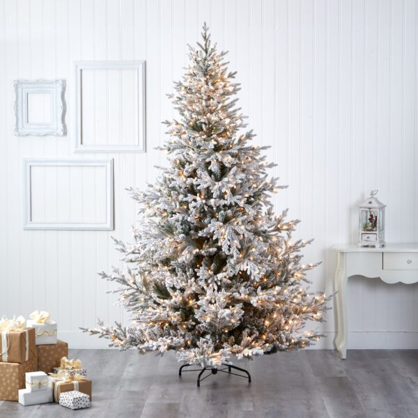 8' Flocked Fraser Fir Artificial Christmas Tree With 800 LEDs