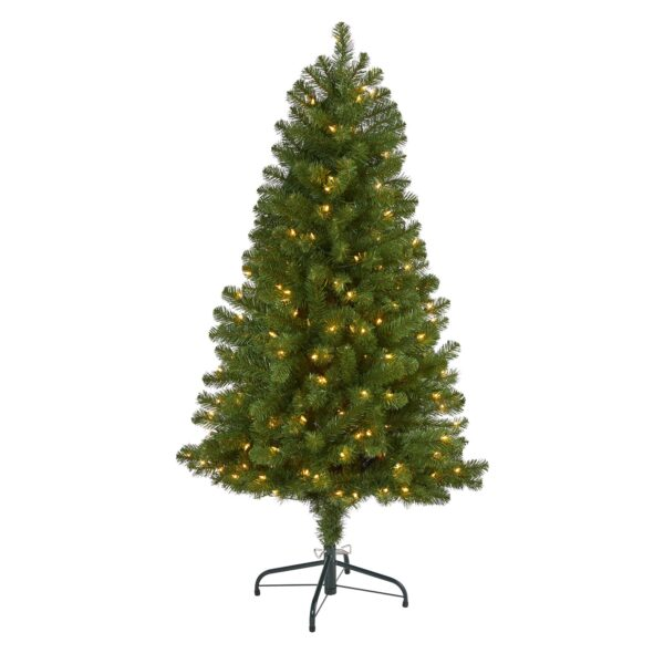 5' Virginia Fir Artificial Christmas Tree With 200 Clear Lights, 379 Bendable Branches