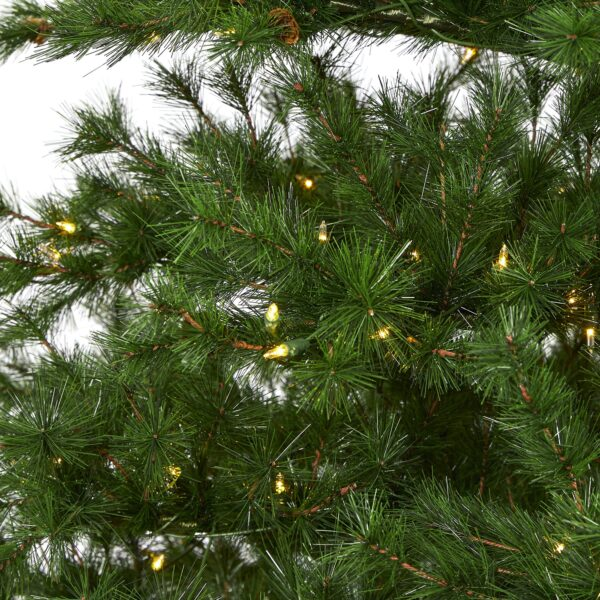 9' Colorado Mountain Pine Artificial Christmas Tree With 650 Lights, 3197 Bendable Branches And Pine Cones