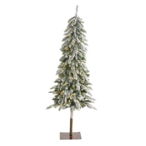 5.5' Flocked Washington Alpine Artificial Christmas Tree With 150 LEDs & 377 Bendable Branches