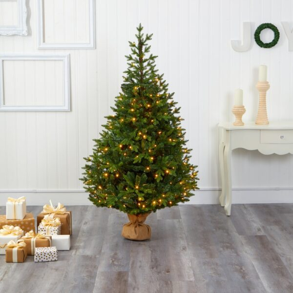 6' Fraser Fir Artificial Christmas Tree With 300 LEDs, 2110 Bendable Branches