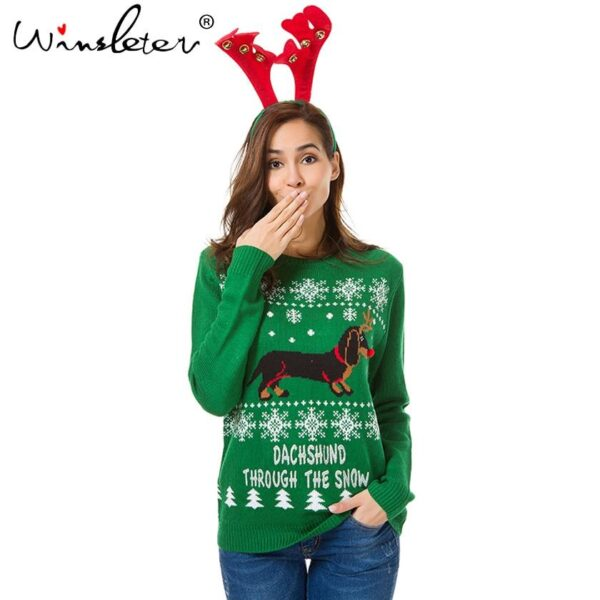 Cute Dog Snowflakes Christmas Sweater | Holliday Apparel | All For Xmas