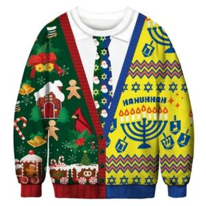 Ugly Christmas Sweater Printed Pullover -Christmas Hanukkah Suit   Christmas Apparel   All For Xmas