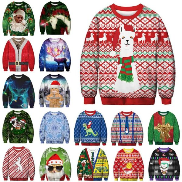 Ugly Christmas Sweater Printed Pullover - Weightlifter Cat   Christmas Apparel   All For Xmas