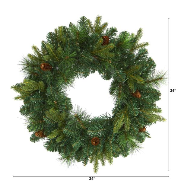 """24"""" Mixed Pine Artificial Christmas Wreath With 35 Clear LED Lights And Pinecones"""
