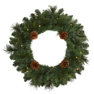 "20"" Pine Artificial Christmas Wreath With 35 LED Lights And Pinecones"