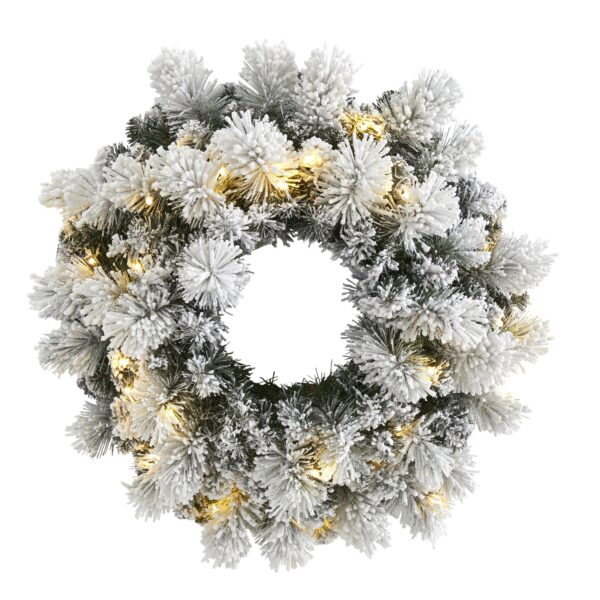 """24"""" Flocked Artificial Christmas Wreath With 30 LEDs, 135 Bendable Branches"""