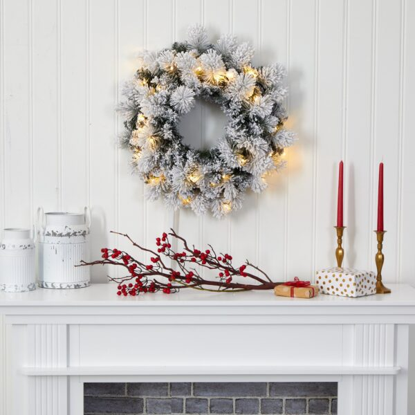 """24"""" Flocked Artificial Christmas Wreath With 30 LEDs,"""