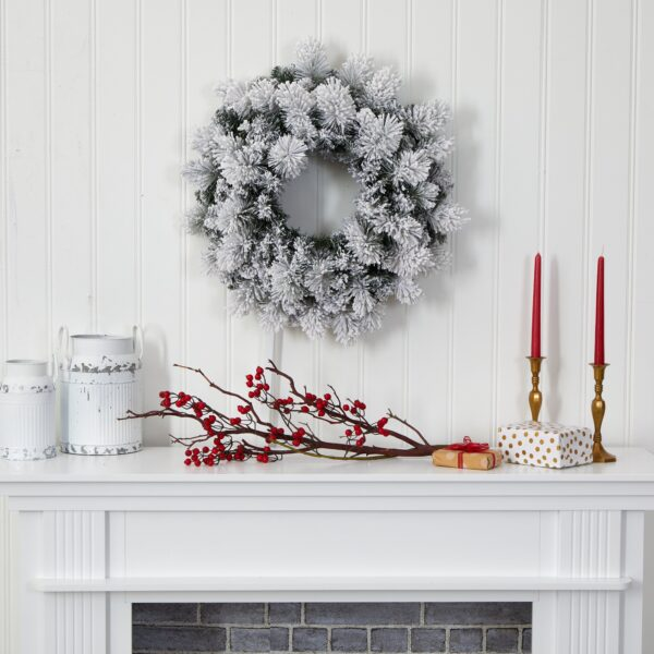"""24"""" Flocked Artificial Christmas Wreath With 30 LEDs"""