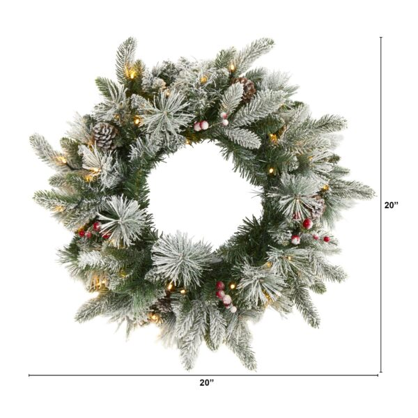 """20"""" Flocked Mixed Pine Artificial Christmas Wreath With 50 LED Lights, Pine Cones And Berries"""