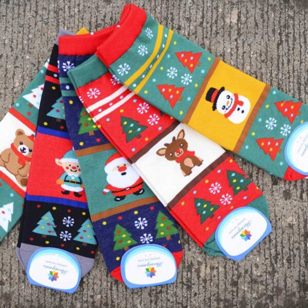 Colorful Cotton Short Christmas Socks - One Size | Christmas Apparel | All For Xmas
